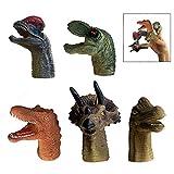XLKJ 5 Stücke Dinosaurier Fingerpuppen Set, Tier Hand Spielzeug Pädagogische Spielzeuge Handpuppe Set für Baby und Kleinkinder