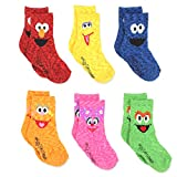 Sesame Street Elmo Boys Girls Multi Pack Crew Socks with Grippers (4-5T, Abby Zoe 6 pk)