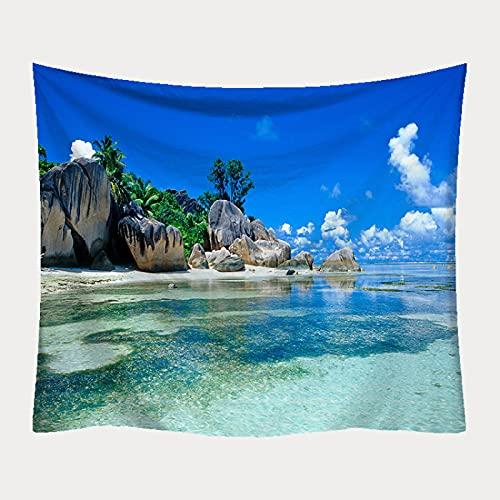NHhuai Tapiz de Fractal para Dormitorio Sala de Estar Paño de Pared decoración Tapiz Playa impresión