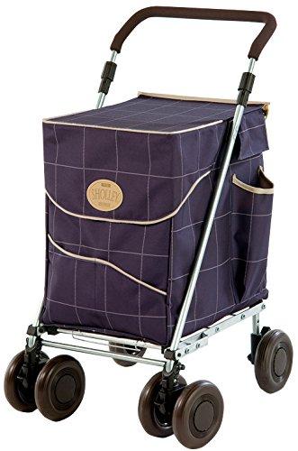 Original Sholley Deluxe Faltbare Einkaufstrolley, Einkaufswagen mit Rädern, Einkaufsroller klappbar. Handwagen, Einkaufstache aüf Rädern, 4 Räder, 6 Räder (Mulberry, Petite)
