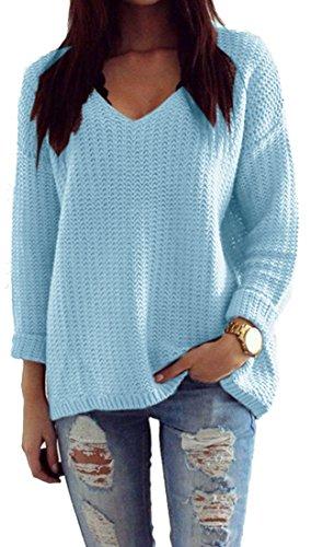 Mikos*Damen Pullover Winter Casual Long Sleeve Loose Strick Pullover Sweater Top Outwear (627) *Hergestellt in der EU - Kein Asienimport* (Hellblau)