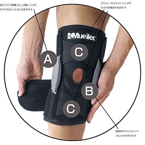 ミューラー(Mueller)ひざサポーターアジャスタブルヒンジドニーブレイス左右兼用男女兼用フリーサイズ54557
