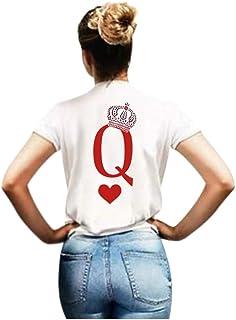 FELZ Camiseta De Los Hombres y Mujeres Día De San ValentíN Cuello Redondo Blusas Carta Divertida Impresa Suelto Manga Cort...