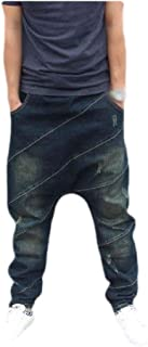neveraway Mens Casual Loose Middle Waist Harem Pants Fashion Denim Pants