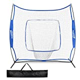 Promover Baseball Softball Practice Net 7' x 7' with Bow Frame Carry Bag for Practice Hitting, Pitching, Batting, Fielding and Catching (Blue)