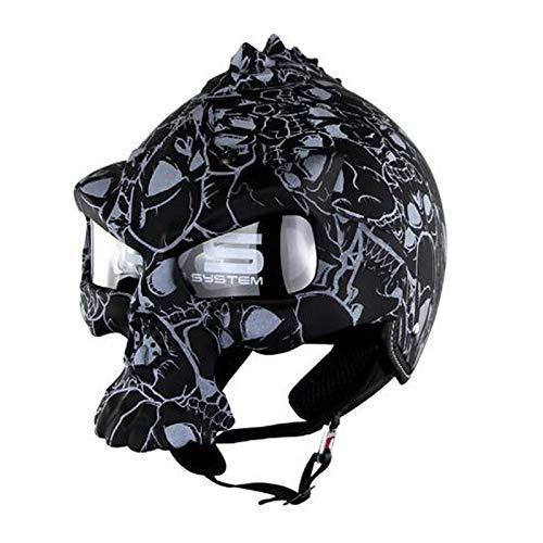 Zjcpow Fahrradhelm, Doppel-Objektiv Motorrad-Schädel Helme Half Face Harley Helm...