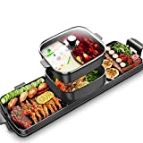 Electric Grill Indoor Hot Pot,2200W 4L Electric Barbecue Stove Multifunctional Shabu Shabu Pot Korean BBQ Grill Smokeless 3 in 1 Non-Stick Pan Separate Dual Temperature Control for 2-12 People