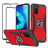 DABUNA Funda para Samsung Galaxy A02S(Europa) Case con 2 pack Mica Screen Protector de Pantalla Cristal Templado,Tipo anti-caída de cuatro esquinas ,Soporte giratorio de 360 °,Adsorción de imán de soporte de coche Armadura Carcasa (Rojo)