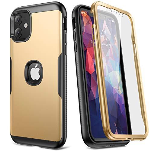 YOUMAKER Carcasa para iPhone 11, Cuerpo Completo Resistente con Protector de Pantalla Integrado, A Prueba de Golpes, Funda para iPhone 11 de 6,1 Pulgadas (2019) - Dorado