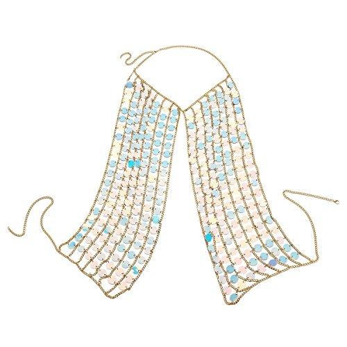 Ingemark Sexy Harness Waist Bikini Chain Bra Body Chain Shoulder Necklace for Women Gold Silver Sequin (Acrylic Colorful Sequin)
