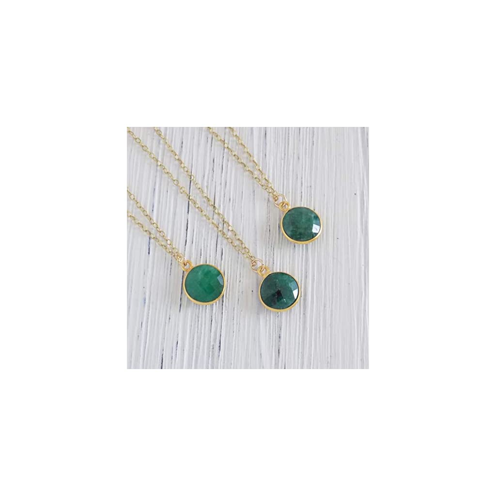Dainty Minimalist Emerald Necklace Gold Chain