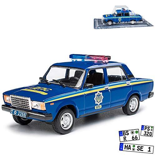 alles-meine.de GmbH Lada 2107 Nova Riva WAS-2107 Limousine Polizei Russland Blau 1979-2012 1/43 Modellcarsonline Modell Auto Modellcarsonline Modell Auto