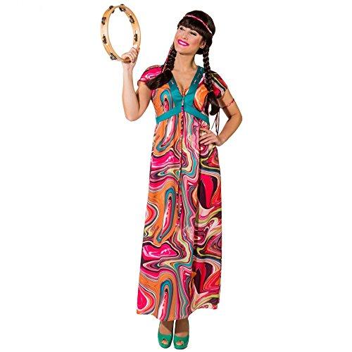 Krause & Sohn Hippie Kostuum Alina Gr. 34-52 jurk lange carnaval 70s kleurrijke, 50/52