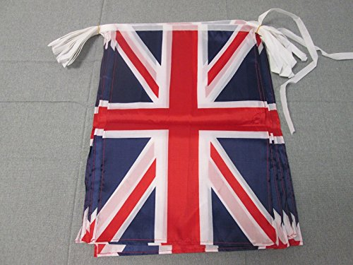 AZ FLAG Guirnalda 12 Metros 20 Banderas del Reino Unido 45x30cm - Bandera Inglesa - BRITANICA – UK 30 x 45 cm - BANDERINES