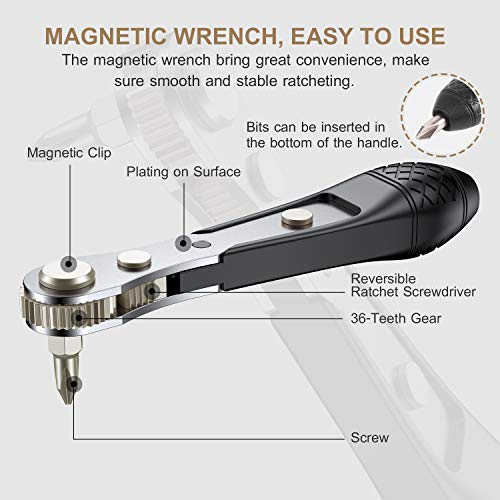 Lifechaser 25PCS S2 Steel Mini Ratchet Wrench Screwdriver Bit Set with 1/4