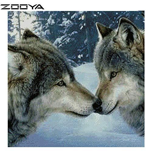 DIOPN Cross Stitch DIY 3D Diamond Schilderen Wolf Sneeuw Liefde Wederzijdse Verwarming Hars Craft Canvas Breinaalden Handwerk Fabric(Rond Diamant 40 * 50cm)