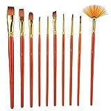 Sharainn Pincel de Pintura, 10 Piezas de Nailon para el Cabello, Juego de Pinceles de Pintura de Acuarela Pintura acrílica, Pintura Corporal, Modelo de cerámica