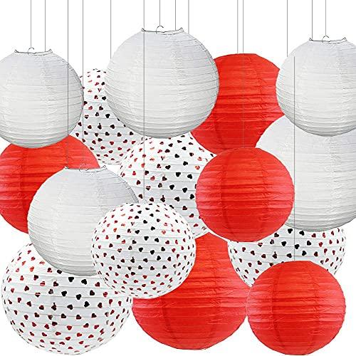 CAIFEIYU 15 PCS Linterna de Papel Chino 8'10' 12'Lámpara de Papel Blanca roja con Lentejuelas de corazón Navidad Navidad Decoración de la Fiesta de Bodas