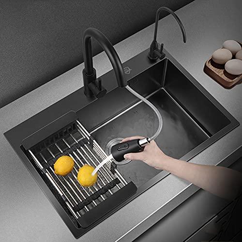 QHW Fregadero de Acero Inoxidable Nano 304 Negro, Fregadero de Verduras de Gran Capacidad de 20cm, instalación...