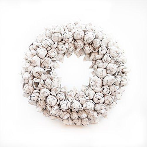 COURONNE Türkranz mit Aufhängevorrichtung 30cm in weiß, gefertigt aus Kokos-Früchten - Deko aus Naturmaterialien als Herbstdeko im Shabby chic Design