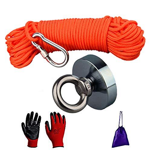 Mutuactor Imanes de pesca de 150 kg, fuerza de tracción fuerte, potente imán de neodimio N52 con 20 m de cuerda duradera y guantes protectores, imán de pesca para tesoros, imán de salvamento en agua