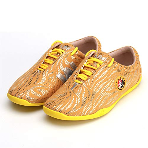 XJST Martial Arts Shoes Leather Soft Tendon Bottom Breathable Tai Chi Shoes Men and Women Boxing Shoes Shoes Sneakers,Gold,45/27.5cm