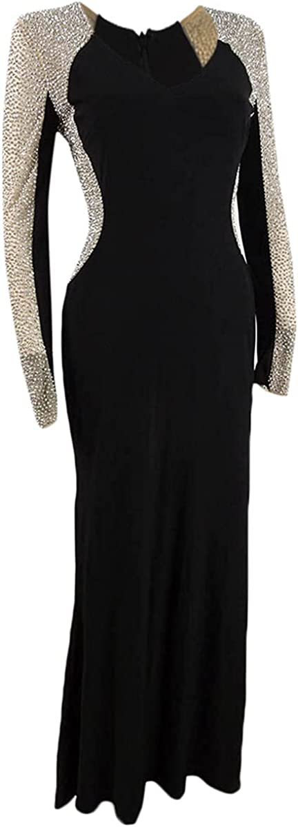Xscape Women's Petite Embellished-Mesh Gown (4P, Black/Nude)
