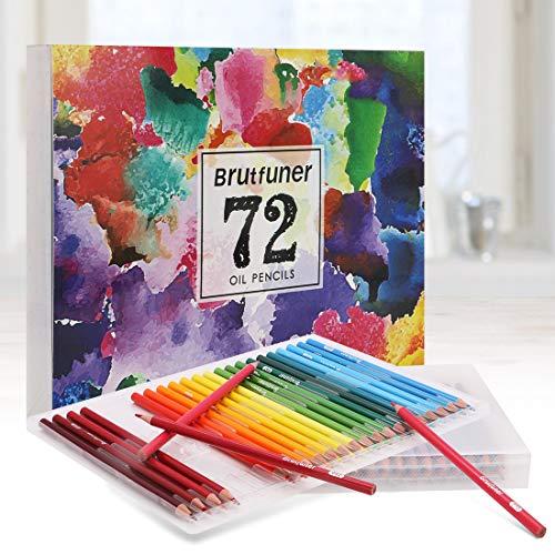 LncBoc 72 lápices de colores - Lápices con Base de Óleo - Incluye Lápiz Color Carne para Colorear y Hacer Bocetos para libros de Colorear para Adultos, Dibujo, Escritura, Diseño