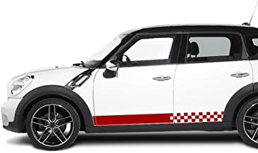 Bubbles Designs 2X Decal Sticker Vinyl Checkered Flag Side Racing Stripes Compatible with Mini Countryman Cooper S R60 LCI
