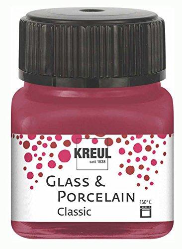 Kreul 16207 - Glass und Porcelain Classic, brillante Glas- und Porzellanmalfarbe auf Wasserbasis, schnelltrocknend, deckend, 20 ml im Glas, granatrot