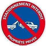 Panneau - Stationnement Interdit Propriété Privée - Plastique rigide PVC 1,5 mm - Diamètre 250...