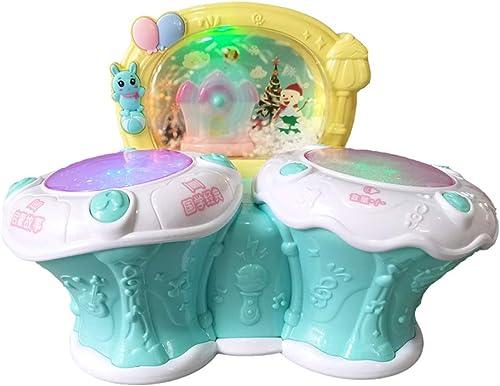 LIPENG-TOY Baby Pat Drums 0-1-3 Jahre alt 6 m lich Baby mädchen Junge Kinder Hand Schlagzeuger Trommeln Frühkindliche Bildung Baby Musik Spielzeug (Farbe   Blau)