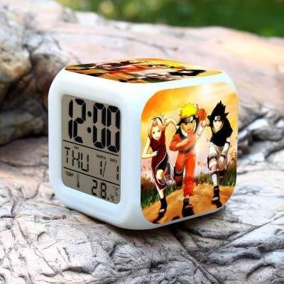 fdgdfgd 3D Naruto Cartoon LED Despertador con termómetro Fecha Número Decoración Divertido Despertador Luminoso