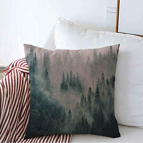 Fodera per cuscino decorativo Fantasy Misty Fir Forest Freddo Inverno Hipster Fata Moody Vintage Natura Fog Parks Fodere per cuscini quadrati di lino in legno per esterni per divano Panca 45 x 45CM