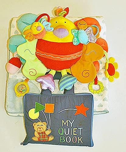 布絵本 布おもちゃ ブランケット MY QUIET BOOKベア ブルーとアクティビティトイ・ピヨピヨバードとハート柄ブランケット ブルー