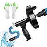 Drain Auger 25 Feet with Drill Adapter, Manual and Powered Sink Snake Plumbing Snake, Heavy Duty Drain Clog Remover for Bathroom, Shower Sink, Bathtub and Kitchen, Come with Gloves