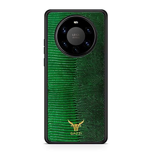 GAZZI Lederhülle für Huawei Mate 40 PRO Hülle Hülle Schale Backcover Handyhülle Schutzhülle Echt Leder, R&umschutz, Flexible Schale (Lizard Grün Gold)