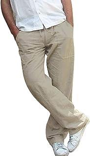 4554e8c9316ce Nouveau Pantalon de Grande Taille en Lin pour Hommes,Ample et Confortable,  Excellent Rapport