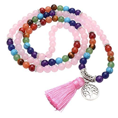 Jovivi Joyas piedras naturales collar pulsera retro tibetano budismo indio ágata mala, curación energía terapia oración yoga 7 chakras pulsera elástica – Árbol de la vida