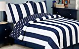 Cozy Line Home Fashions Sailor Popeye 's Bedding Quilt Set, Nautical Navy Blue White Star Striped Pattern Printed 100% Cotton Reversible Coverlet Bedspread for Kids Boy (Sailor Star, Queen - 3 Piece)