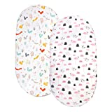 Stretch Bassinet Sheets for Baby Set of 2 - Ultra Soft, Breathable, 100% Organic Cotton, Fitted Bassinet Sheet for Bassinet Pad/Mattress, Unisex Boys Girls (NY01)