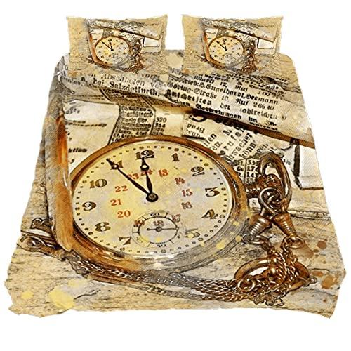 Juego de funda de edredón tamaño King, juego de edredón vintage con reloj de bolsillo, juego de cama con 1 funda de edredón y 2 fundas de almohada