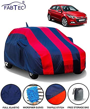 Fabtec Car Body Cover for Hyundai Elite I20 with Mirror Antenna Pocket Storage Bag & Microfiber Glove Combo (Red & Blue)