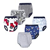 BIG ELEPHANT Baby Boys' Toddler Potty 6 Pack Padded Soft Pure Cotton Pee Training Pants Underwear (Style B, 4T)