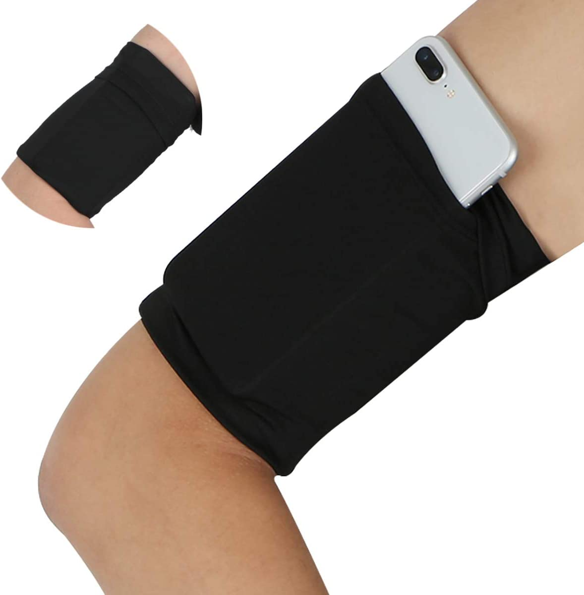 Cellphone Armband Sleeve for Walking Running - Cell Phone Keys Earphone Cards Arm Wrist Band for Compatible with iPhone 6 6S 7 8 X XR XS 11 12 Pro Android Pixel Galaxy Yoga for Women Men - Black/Small