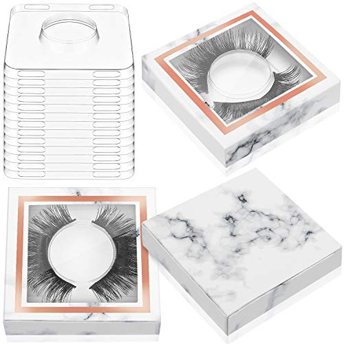100 Piece Paper Eyelash Packaging Box Lashes Boxes Packaging, 50 Piece Empty Eyelash Boxes Lash Box, 50 Piece Empty Eyelash Boxes Tray False Eyelashes Storage Box Packing Box Lid Tray (Marble)