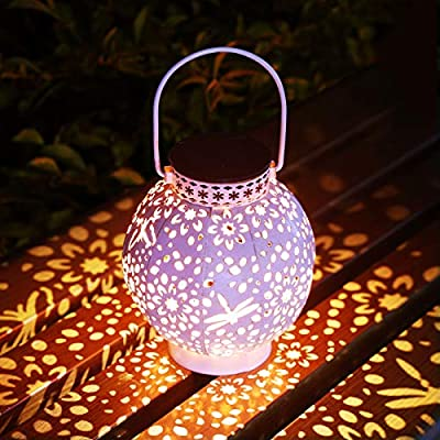 KOOPER Solar Lantern, Hanging Retro Solar Lights, Outdoor Solar Garden Lights Yard Decor for Tree Fence Patio, White (1 Pack)