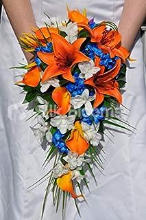 Silk Blooms Ltd Artificial Bright Orange Oriental Lily and Dendrobium Orchid Wedding Cascade w/Blue Stephanotis