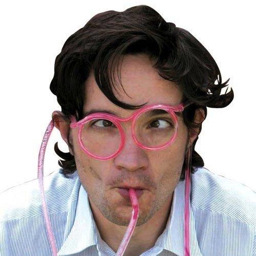 MIK Funshopping Lustige Strohhalm Brille Drinking Glasses - Saug's dir!