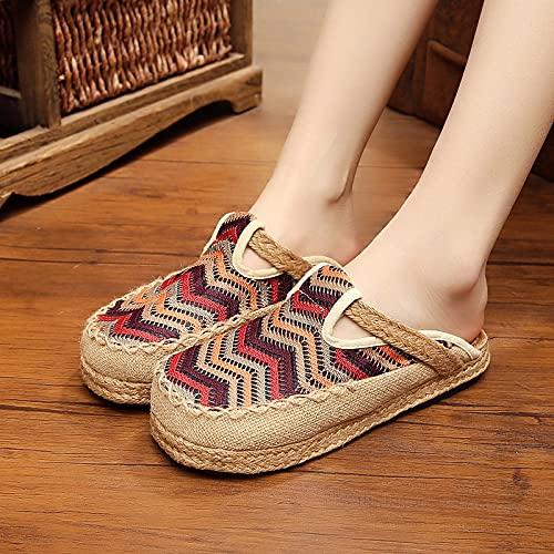QIMITE Pantofole - Scarpe Colorate Tondo Scarpe Fatte A Mano Pantofola di Stoffa Cotone E Lino Paglia Tessuto College Stile Pantofole, caffè,35